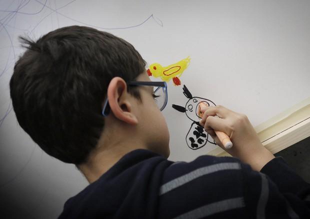 Autismo: da Telethon investiti 4 milioni in 17 progetti di ricerca (foto d'archivio, un bimbo disegna al Maxxi in occasione della Giornata dell'Autismo) © ANSA