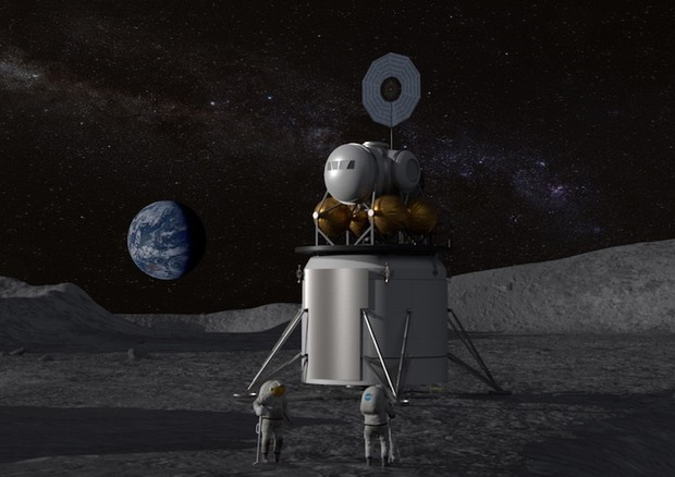 Rappresentazione grafica di un lander lunare (fonte: NASA) © Ansa