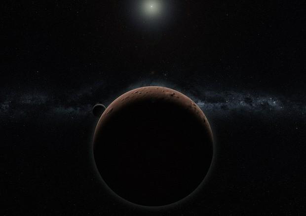 Rappresentazione artistica del pianeta nano Gonggong e della sua luna Xiangliu (fonte: Alex H. Parker) © Ansa