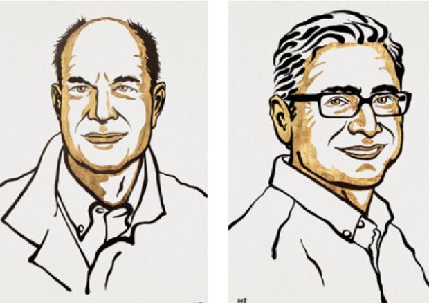 Da sinistra: David Julius e Ardem Patapoutian, dividono il Nobel per la Medicina per la scoperta dei recettori del tatto (fonte: Nobel Foundation) © Ansa