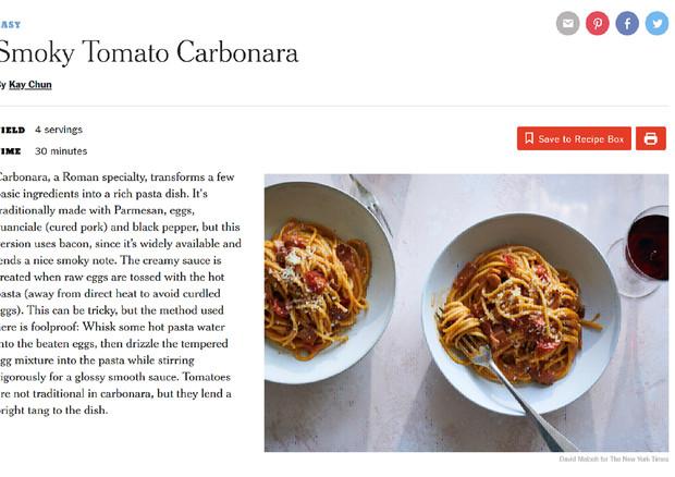Carbonara al pomodoro, il New York Times agita web e social