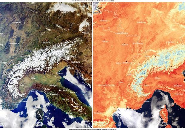 L'Europa centrale avvampata dal caldo anomalo di fine febbraio (fonte: Unione Europea, Copernicus Sentinel-3) © Ansa