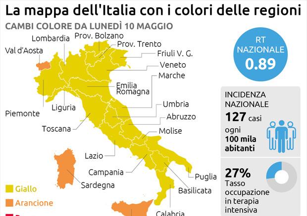 La mappa dell'Italia con i colori delle Regioni © Ansa
