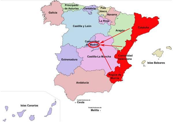 Cartina Politica Spagna Con Capoluoghi.Cartina Spagna Politica Con Regioni E Capoluoghi