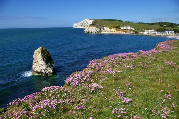 la costa occidentale di Alum Bay, sull'isola di Wight