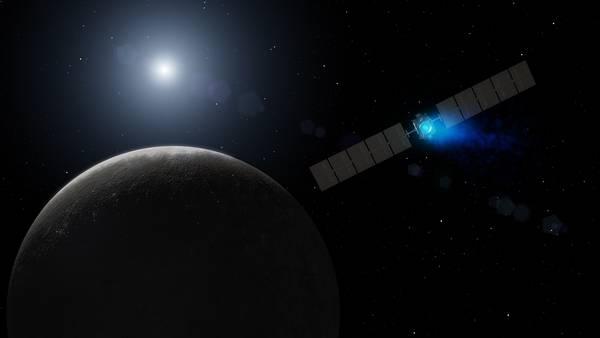 Rappresentazione artistica dell'ingresso della sonda Dawn nell'orbita del pianeta nano Cerere (fonte: NASA/JPL-Caltech)