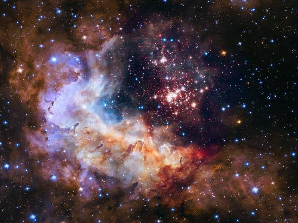 L'ammasso di stelle Westerlund 2 fotografato da Hubble per i suoi 25 anni (fonte: NASA, ESA, the Hubble Heritage Team (STScI/AURA), A. Nota (ESA/STScI) and the Westerlund 2 Science Team)
