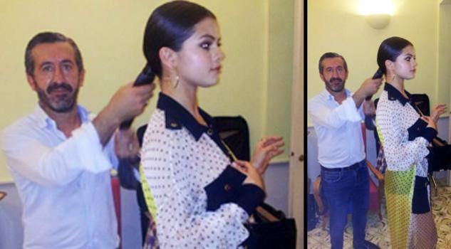Selena Gomez con l'hair stilist Carlo Tessier