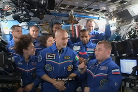 Luca Parmitano takes command of ISS (source: NASA TV) (ANSA)