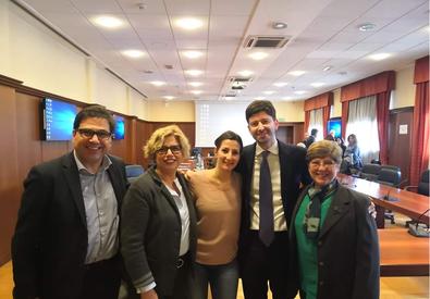 Le ricercatrici dello Spallanzani con il ministro Roberto Speranza (da sx Concetta Castilletti, Francesca Colavita, Maria Rosaria Capobianchi) (ANSA)