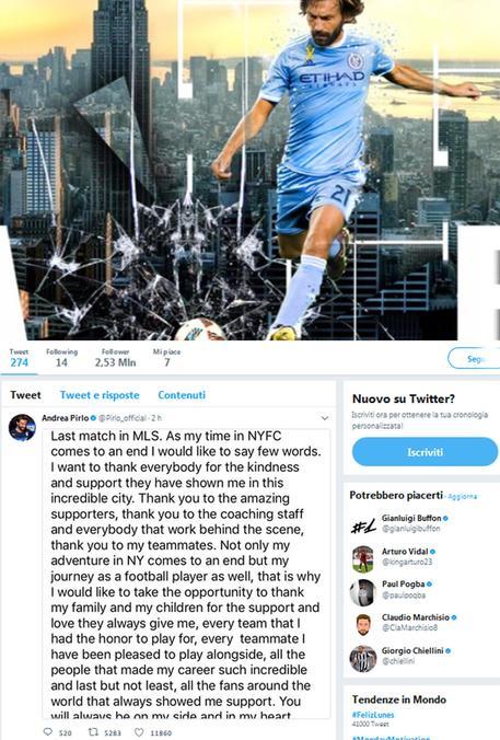 Calcio: tweet Pirlo ' stato ultimo match, grazie a tutti' © ANSA