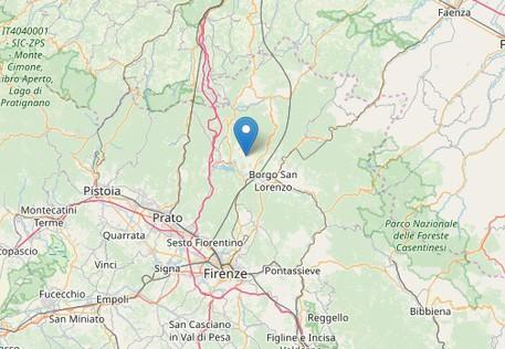 L'area del Mugello dove sono state registrate le scosse di terremoto, dal sito dell'INGV © Ansa