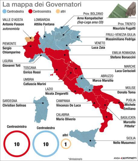 Cartina Politica Regioni Italia.Mappa Delle Regioni Parita Tra Sinistra E Destra Politica Ansa
