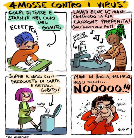 Il fumetto di Gud sulle buone pratiche per contrastare il Coronavirus © Ansa