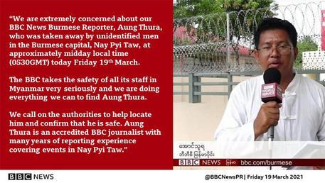 Il reporter birmano della Bbc News, Aung Thura © ANSA