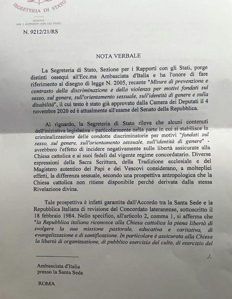 La nota della segreteria Vaticana © ANSA