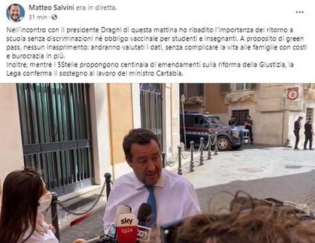 Covid:Salvini,no a obbligo vaccini,tutti i bimbi in classe © ANSA