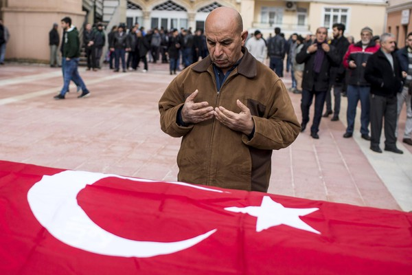 Funeral of Turks who died allegedly from a rocket fired from Syria