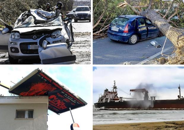 Da sinistra l'incidente a Guidonia, l'albero caduto sull'albero nel napoletano, il cartellone pubblicitario volato nel capoluogo campano, e il mercantile turco arenato sul litorale a Bari (ANSA)