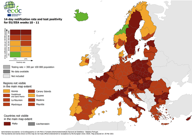 Cartina Europa.Anche Puglia In Rosso Scuro Nella Mappa Covid La Tua Europa Ansa It