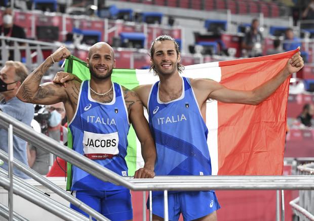 L'atletica azzurra nella storia, Jacobs e Tamberi sono d'oro (ANSA)
