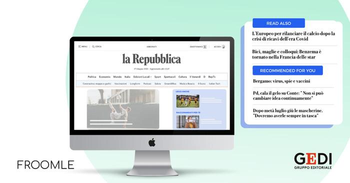 Gedi, con Froomle lettura personalizzata da siti testate