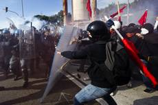 Police clash with students in Naples over labor market