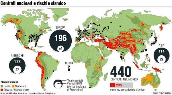 Cartina Centrali Nucleari Nel Mondo.Dall Iran Agli Usa Le Centrali In Zone Sismiche Photostory Primopiano Ansa It